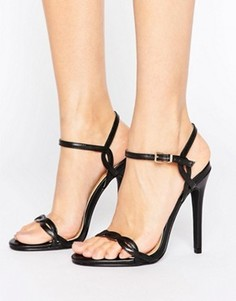Черные босоножки на каблуке с переплетенными ремешками Public Desire Annabelle - Черный