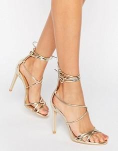 Золотистые сандалии на каблуке с завязкой Public Desire Jordan - Золотой