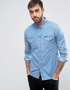 Узкая выбеленная рубашка в стиле вестерн Lee Denim - Синий