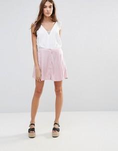 Юбка на пуговицах спереди Neon Rose - Розовый