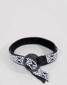 Черный браслет с ацтекским узором Icon Brand - Черный
