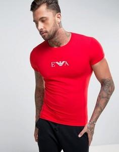 Обтягивающая футболка с логотипом на груди Emporio Armani - Красный