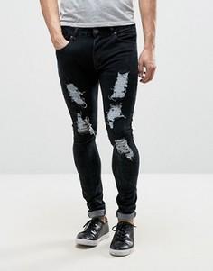 Выбеленные серые рваные джинсы скинни Liquor & Poker - Серый