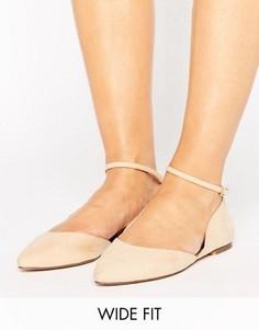 Туфли на плоской подошве для широкой стопы с ремешком вокруг щиколотки Faith - Розовый