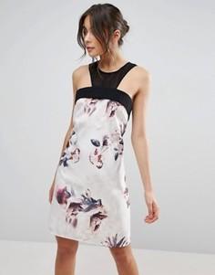 Платье-трапеция с полупрозрачной вставкой и цветочным принтом Little Mistress - Мульти