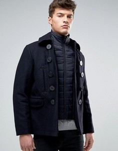 Двубортное шерстяное пальто Celio - Темно-синий