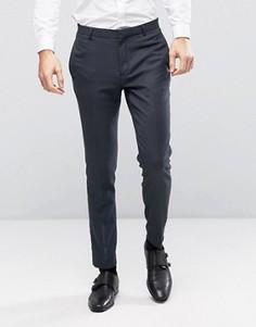Темно-синие фактурные зауженные брюки ASOS WEDDING - Темно-синий