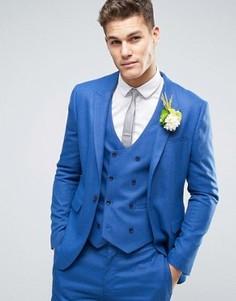 Синий фактурный зауженный пиджак ASOS WEDDING - Синий