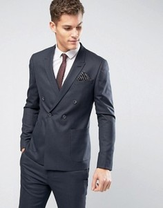 Фактурный приталенный двубортный пиджак ASOS WEDDING - Темно-синий