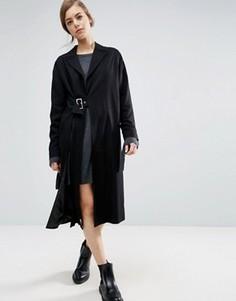 Легкое пальто с разрезом и пряжкой ASOS - Черный