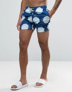 Темно-синие шорты для плавания средней длины с ракушками Oiler & Boiler Tuckernuck - Темно-синий