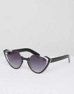 Солнцезащитные очки кошачий глаз с прозрачной оправой 7X - Коричневый