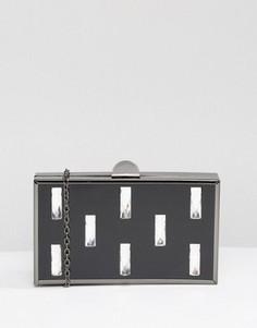 Клатч с отделкой прямоугольными камнями Liquorish - Черный