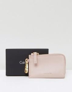 Кошелек для монет телесного цвета с брелоком для ключей Calvin Klein - Розовый