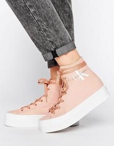 Высокие розовые кроссовки из парусины Calvin Klein Jeans Zabrina - Розовый