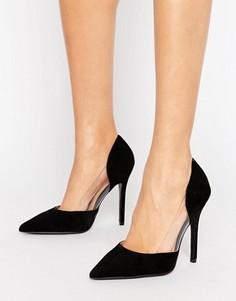 Черные туфли-лодочки с прозрачными вставками Public Desire Keeley - Черный