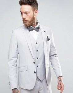 Светло-серый приталенный пиджак с булавкой-цветком на лацкане Devils Advocate Wedding - Серый