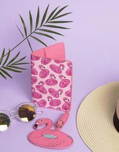 Обложка для паспорта и багажная бирка с фламинго Skinnydip - Мульти