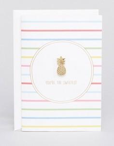 Значок в виде ананаса с подарочной открыткой Orelia - Золотой