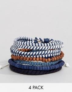 Набор из 4 браслетов в морском стиле Icon Brand - Темно-синий