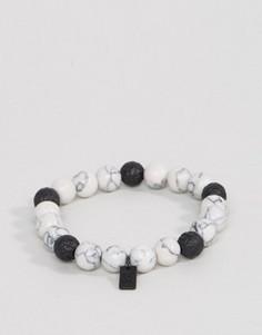 Белый браслет из бусин с мраморным эффектом Icon Brand - Белый