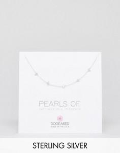Серебряное ожерелье-чокер с жемчугом Dogeared Pearls of Happiness - Серебряный