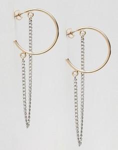 Серьги-кольца с цепочками Monki - Золотой