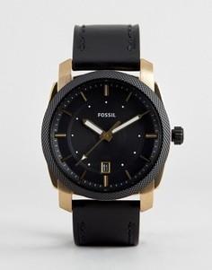 Часы с черным кожаным ремешком Fossil FS5263 Machine - Черный