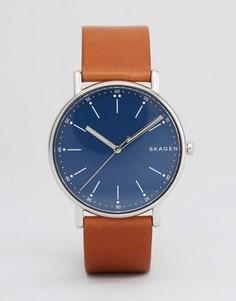 Часы с коричневым кожаным ремешком Skagen SKW6355 - Коричневый
