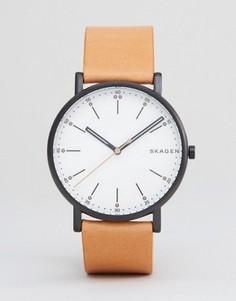 Часы со светло-коричневым кожаным ремешком Skagen SKW6352 - Рыжий