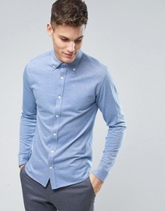 Узкая рубашка-премиум из пике Jack & Jones - Синий