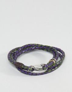 Темно-синий кожаный браслет Paul Smith - Темно-синий