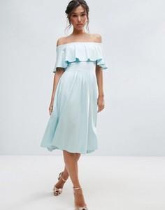 Приталенное платье миди с широким вырезом и оборкой ASOS - Синий