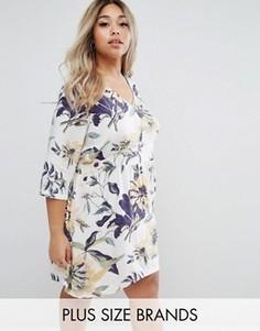 Короткое приталенное платье с тропическим цветочным принтом Junarose - Мульти