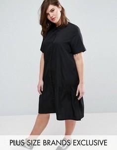 Oversize-платье с короткими рукавами и баской по краю Daisy Street Plus - Черный