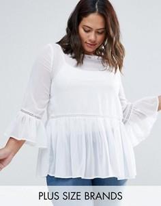 Полупрозрачная блузка с оборками по краю Alice & You - Белый