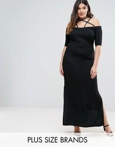 Платье макси с открытыми плечами Pink Clove - Черный