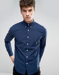 Темно-синяя обтягивающая рубашка из эластичного поплина Abercrombie & Fitch - Темно-синий
