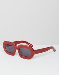 Солнцезащитные очки в красной мраморной оправе House of Holland Eggy - Красный