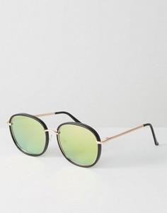 Круглые солнцезащитные очки с зеркальными стеклами 7X - Черный