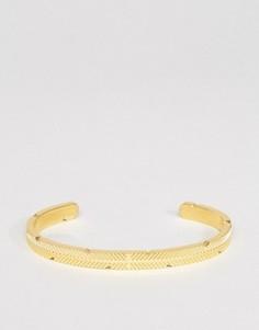 Золотистый браслет-манжет в виде пера Mister - Золотой
