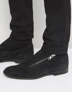 Черные замшевые ботинки челси на молнии с запахом ASOS - Черный