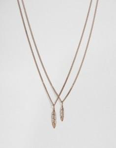 Золотисто-розовое ожерелье с перьями Mister - Золотой