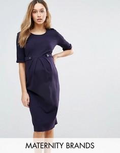 Платье с короткими рукавами и пуговицами Isabella Oliver - Темно-синий