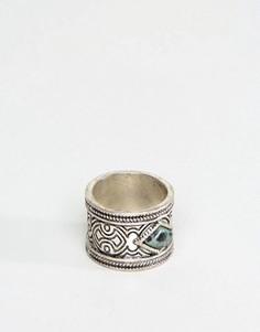 Кольцо с зеленым камнем ASOS - Серебряный