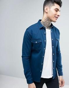 Джинсовая выбеленная рубашка скинни в стиле вестерн ASOS - Синий