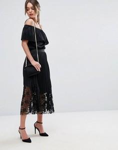 Плиссированное платье миди с кружевом Boohoo - Черный