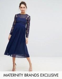 Платье-трапеция с кружевной отделкой Little Mistress Maternity - Темно-синий