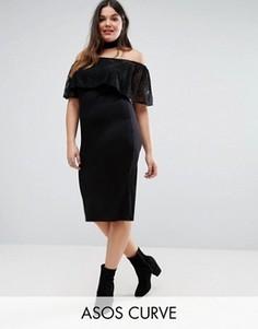 Платье с открытыми плечами и кружевными оборками ASOS CURVE - Черный