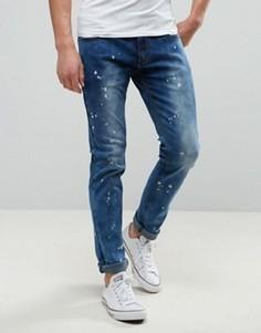 Выбеленные джинсы слим Liquor & Poker - Синий